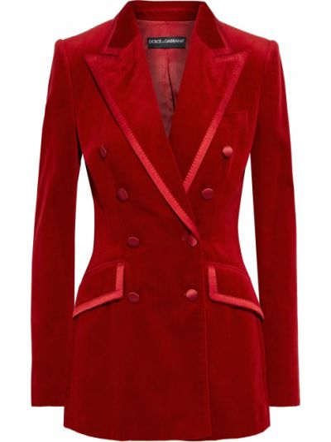 Бархатный малиновый пиджак двубортный Dolce & Gabbana