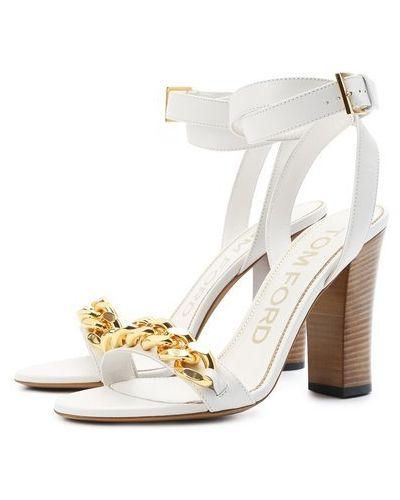 Кожаные босоножки - белые Tom Ford