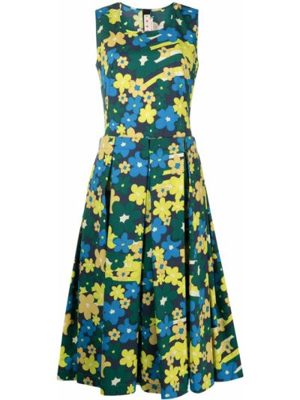 Платье в цветочный принт - синее Marni