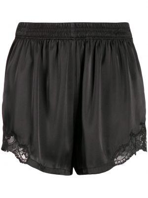 Ажурные черные короткие шорты на шнурках Paco Rabanne