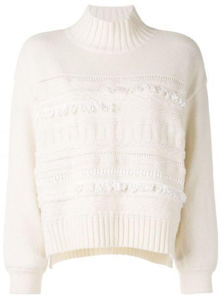Белый пуловер в рубчик с воротником с декоративной отделкой Coohem