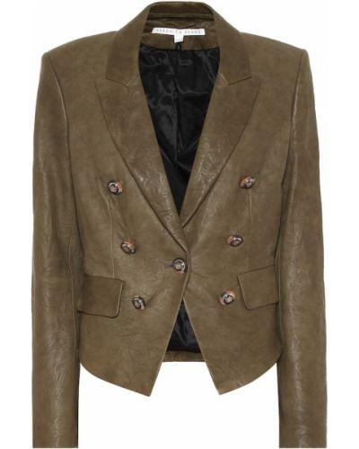 Зеленый кожаный пиджак винтажный Veronica Beard