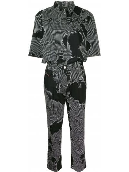Прямой черный классический комбинезон с шортами с карманами Diesel
