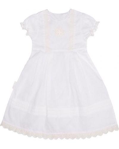 Платье с рукавами из поплина белое Lucky Child