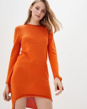 Оранжевое клубное вязаное платье Nataclub