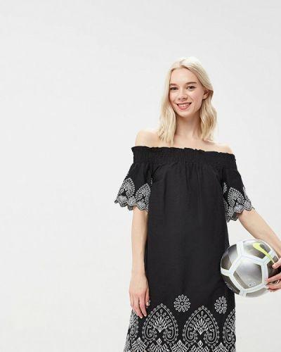 Черное платье с открытыми плечами Warehouse