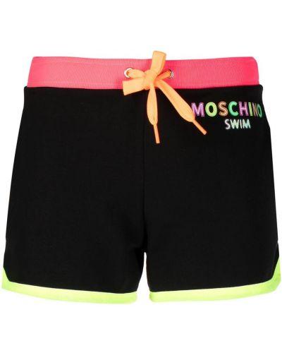 Czarne spodenki do pływania z haftem bawełniane Moschino