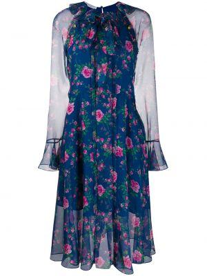 Платье миди с цветочным принтом с прозрачными рукавами Philosophy Di Lorenzo Serafini
