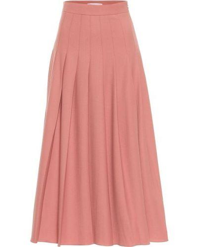 Плиссированная розовая юбка макси из габардина Emilia Wickstead