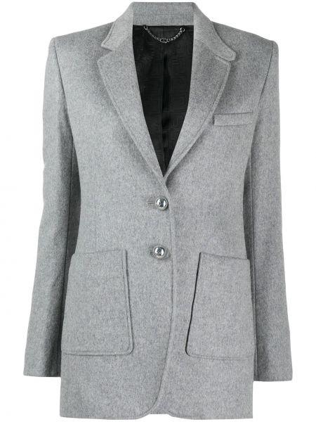 Однобортный серый удлиненный пиджак с карманами Paco Rabanne