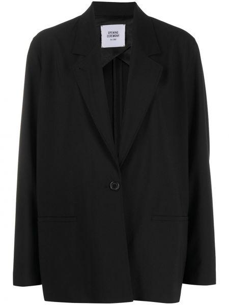 Шерстяной свободные прямой черный удлиненный пиджак Opening Ceremony