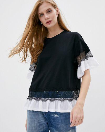 Черная блузка с оборками Twinset Milano
