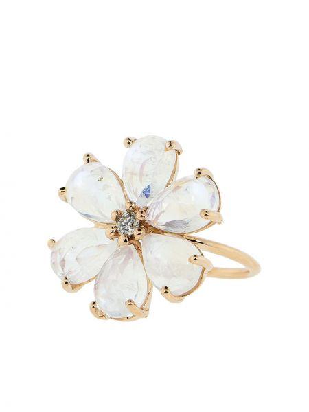 Розовое кольцо круглое с бриллиантом Jacquie Aiche