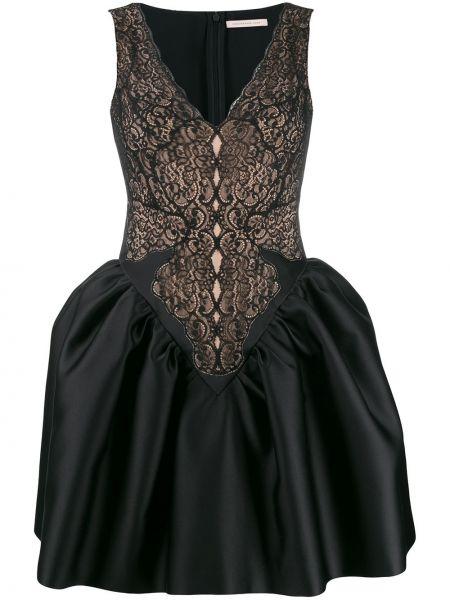 Sukienka koronkowa z dekoltem w serek - czarna Christopher Kane