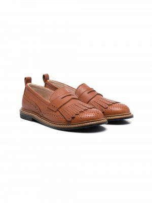 Loafers na obcasie - brązowe Chloé Kids