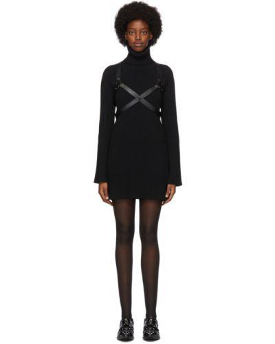 Кожаное с рукавами черное платье макси Junya Watanabe
