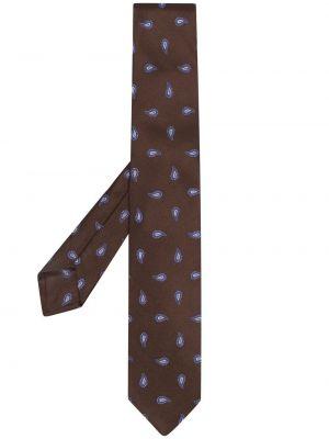 Коричневый шелковый галстук Barba