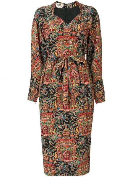 С рукавами шелковое платье миди винтажное с вырезом Hermès