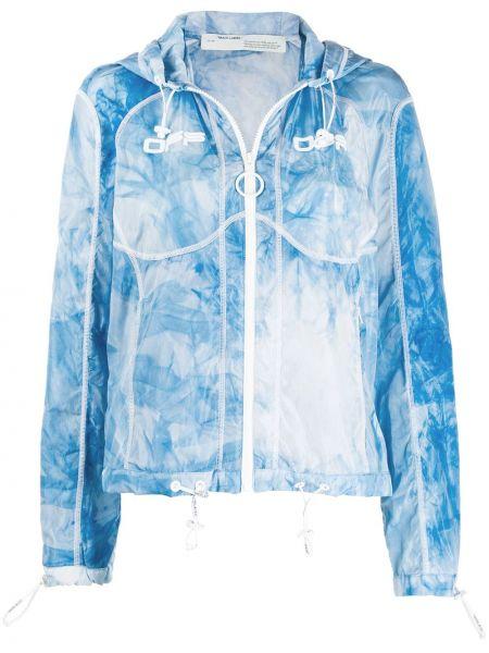 С рукавами синяя короткая куртка с капюшоном Off-white