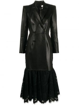 Ажурное шелковое черное кожаное пальто с лацканами Alexander Mcqueen