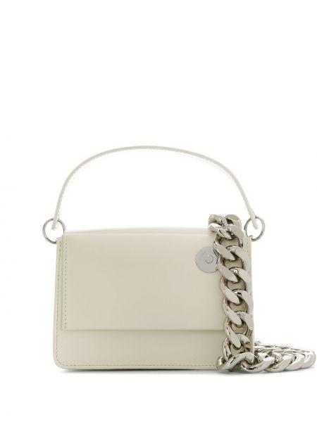 Кожаная белая сумка на плечо Kara