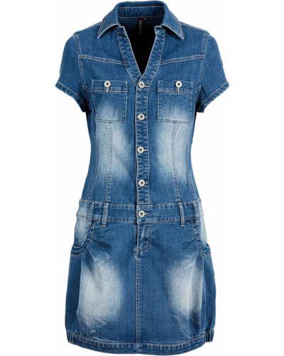 Джинсовое платье с карманами на пуговицах Bonprix