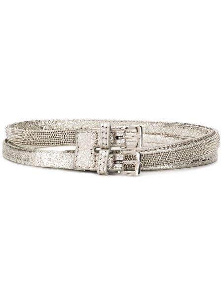 Кожаный серебряный тонкий ремень с пряжкой узкого кроя Fabiana Filippi