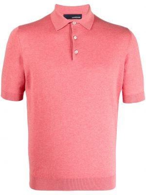 Prążkowana koszula krótki rękaw bawełniana Lardini