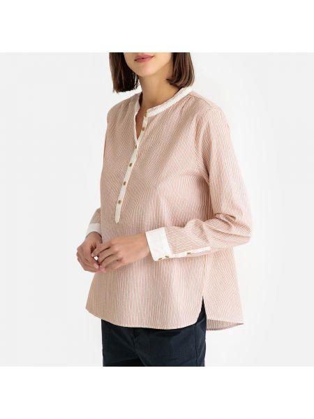 Розовая блузка с длинным рукавом на пуговицах свободного кроя с вырезом Harris Wilson