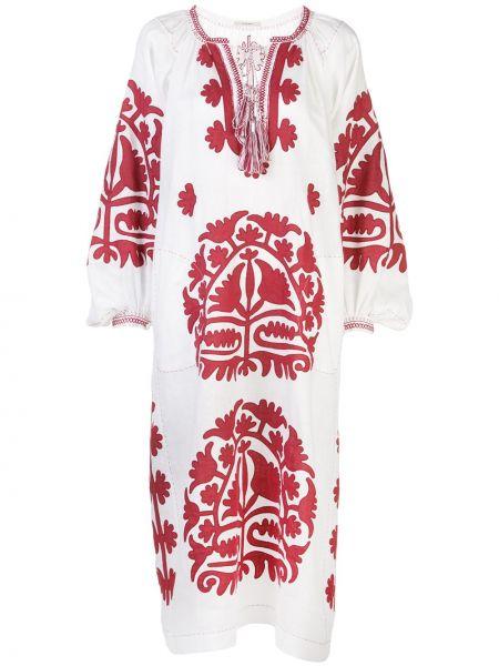 Белое расклешенное платье миди с вышивкой с вырезом Vita Kin