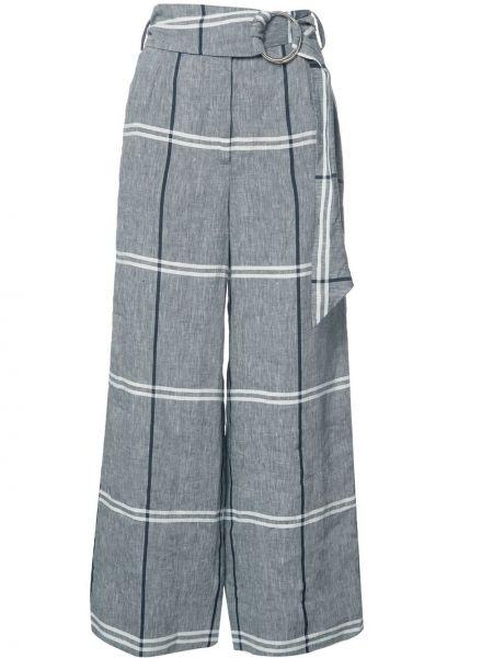 Серые льняные укороченные брюки с воротником с поясом Suno