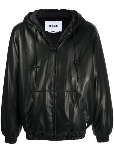 Черная кожаная куртка на молнии Msgm