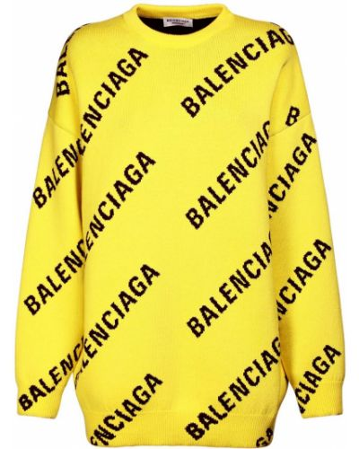 Prążkowany żółty sweter bawełniany Balenciaga