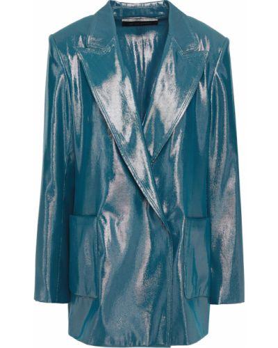 Синий пиджак двубортный с накладными карманами Roland Mouret