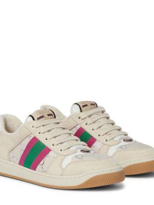 Buty sportowe skorzane - beżowe Gucci