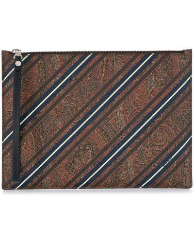 Bawełna skórzany brązowy torba sprzęgło z paskami Etro