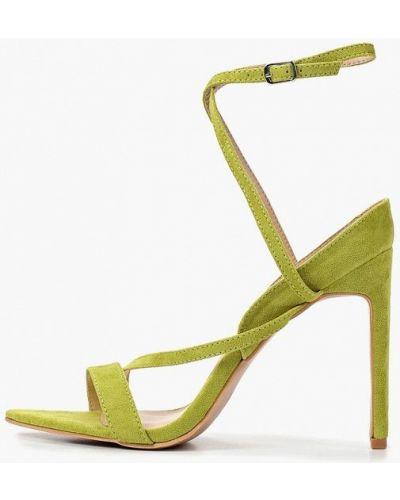 Босоножки на каблуке зеленый замшевые Lost Ink.