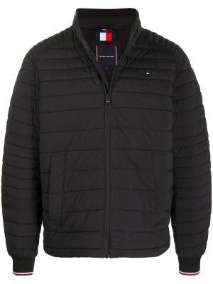 Черная стеганая длинная куртка с вышивкой Tommy Hilfiger