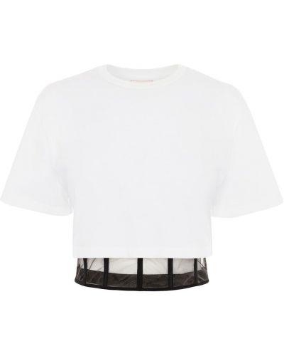 Хлопковая белая футболка с вырезом Alexander Mcqueen