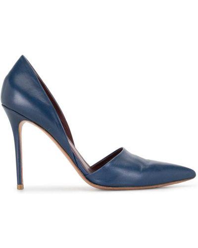 Кожаные синие туфли-лодочки на каблуке без застежки Céline Pre-owned