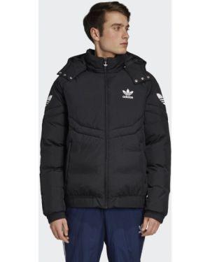 Пуховая облегченная черная зимняя куртка Adidas