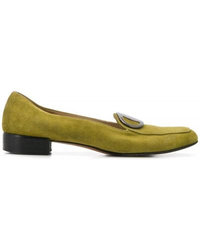 Зеленые лоферы на каблуке винтажные с пряжкой Salvatore Ferragamo Pre-owned
