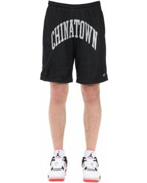 Czarne krótkie szorty z siateczką Chinatown Market