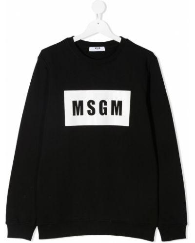 С рукавами хлопковая черная толстовка Msgm Kids
