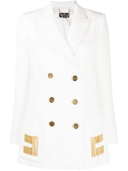 Классический белый классический пиджак с карманами двубортный Elisabetta Franchi