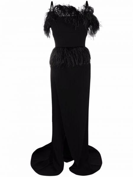 Черное платье на бретелях Elie Saab