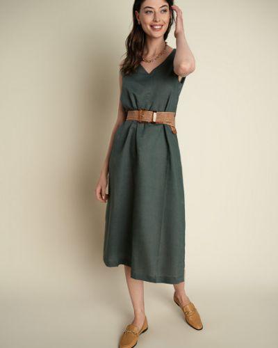 Зеленое платье А-силуэта с поясом без рукавов Ostin