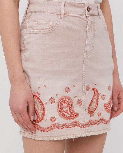 Różowa spódnica mini bawełniana na co dzień Desigual