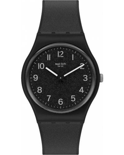 Повседневные черные силиконовые часы водонепроницаемые Swatch