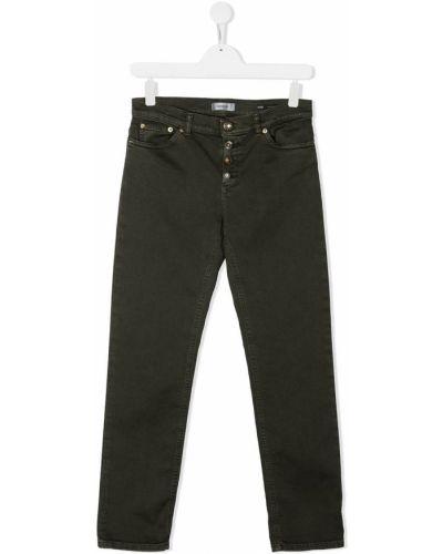 Хлопковые зеленые прямые джинсы на пуговицах с высокой посадкой Dondup Kids